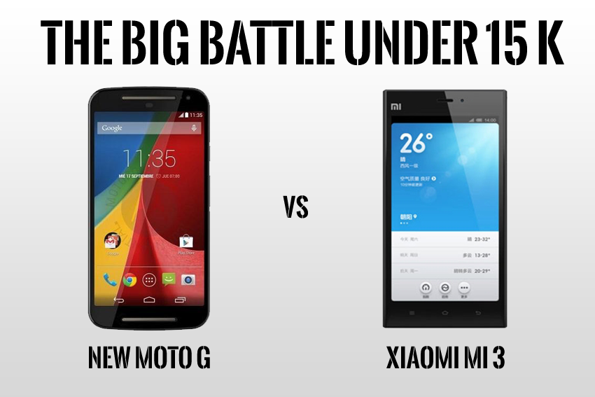 New Moto g vs Xiaomi Mi 3
