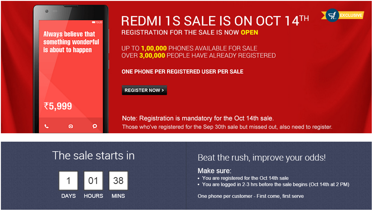 1,00,000 Xiaomi Redmi 1S will go on Sale Tomorrow