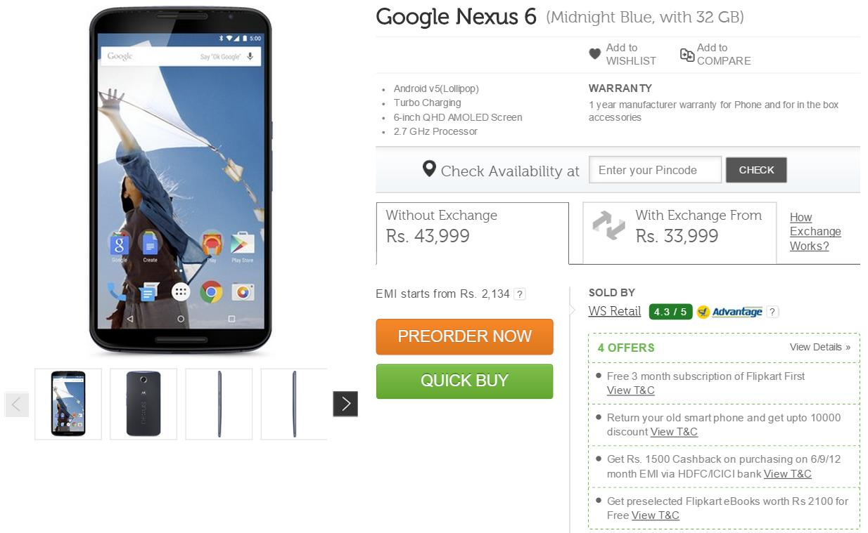 Google Nexus 6 available for preorders via Flipkart