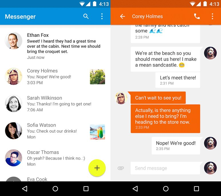 Google Releases Messenger for Android, a New SMS App with Material Design