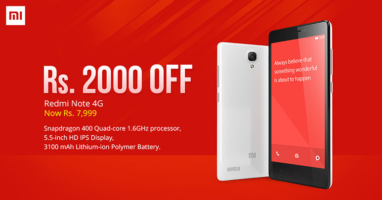 Xiaomi Redmi Note 4G price slashed by Rs. 2000