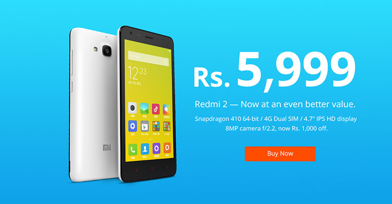 Xiaomi Redmi 2 price slashed in India, now available for 5,999 Rs