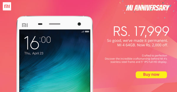 Xiaomi Mi 4 64 GB gets a price cut of 2,000 Rs, now available at 17,999 Rs.