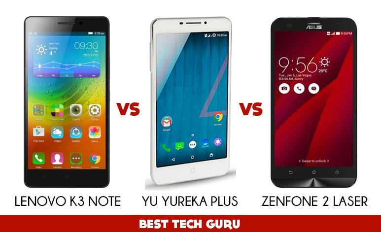 Lenovo K3 Note Vs Yu Yureka Plus Vs Zenfone 2 Laser: Which one is right for you?