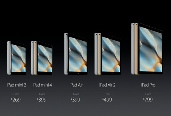 ipad pro and ipad mini 4 pricing