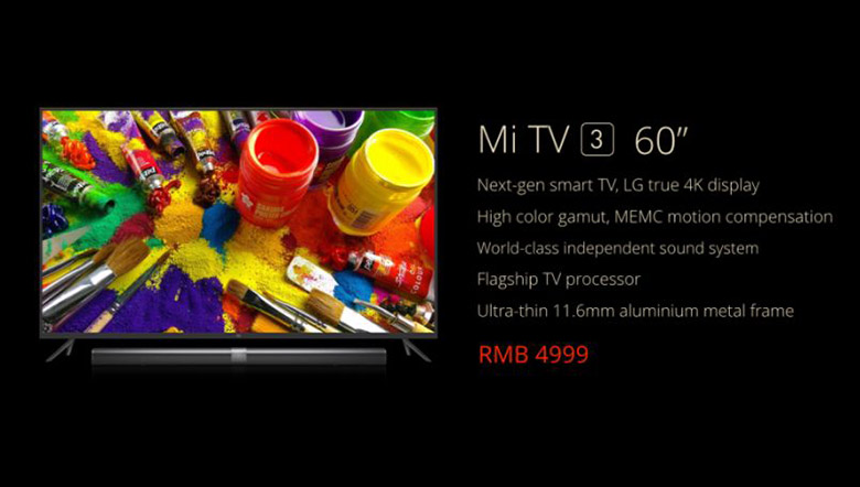Xiaomi Mi TV 3 with 60-inch 4K screen, running Android 5.1 launched