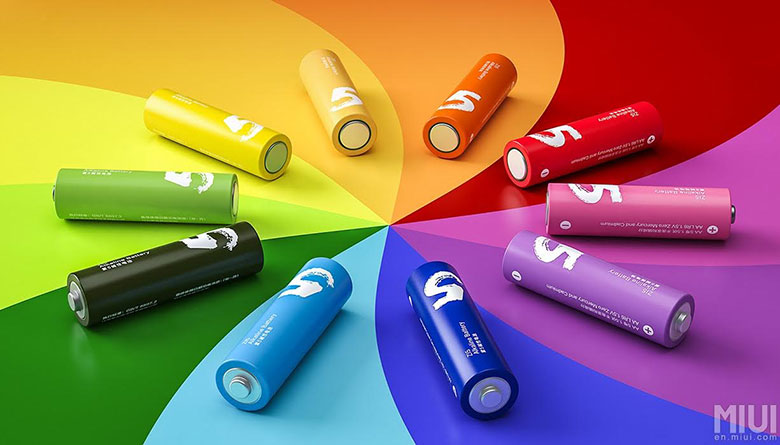 Xiaomi launches AA sized Rainbow Colored Batteries
