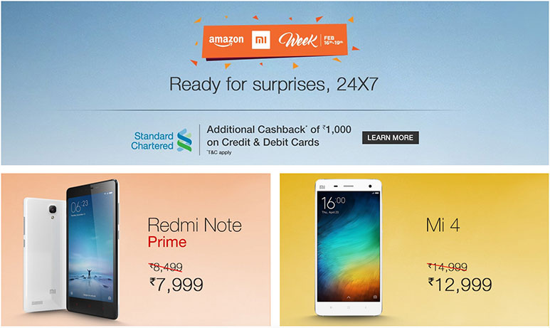 Amazon Mi Week: 2000 Rs. discount on Mi4 & Mi4i; Redmi Note Prime gets permanent price cut