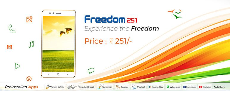 Freedom 251, cheapest smartphone in India launched at Rs. 251