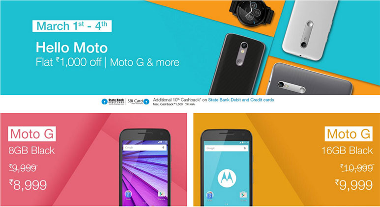 Motorola offering great discounts on Amazon.in between 1st - 4th March