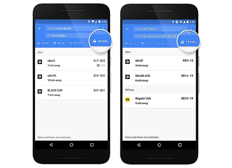 Now book Ola and Uber cabs from Google Maps in India