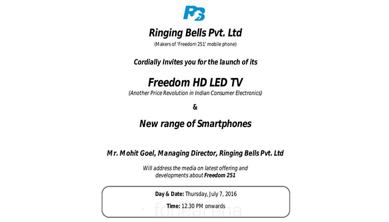 Ringing Bells to launch Freedom LED TV and new smartphones on 7th July