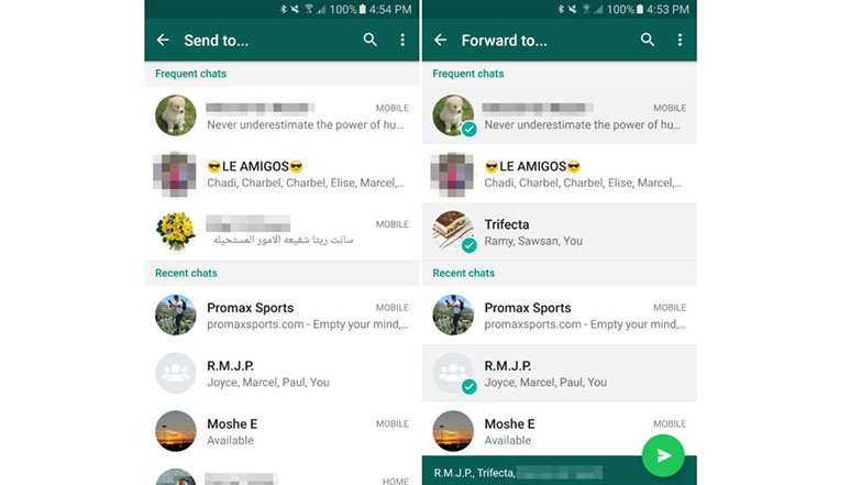 WhatsApp Beta now lets you share content with multiple contacts on Android