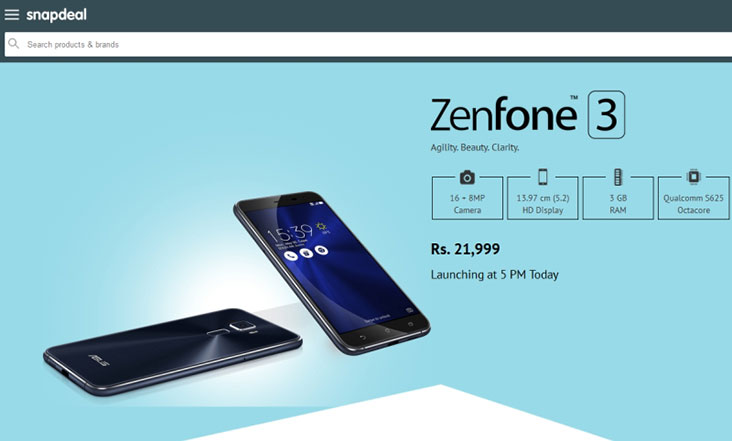 Asus Zenfone 3 with 5.2-inch HD display, 3GB RAM listed on Snapdeal for Rs. 21,999 ahead of its launch
