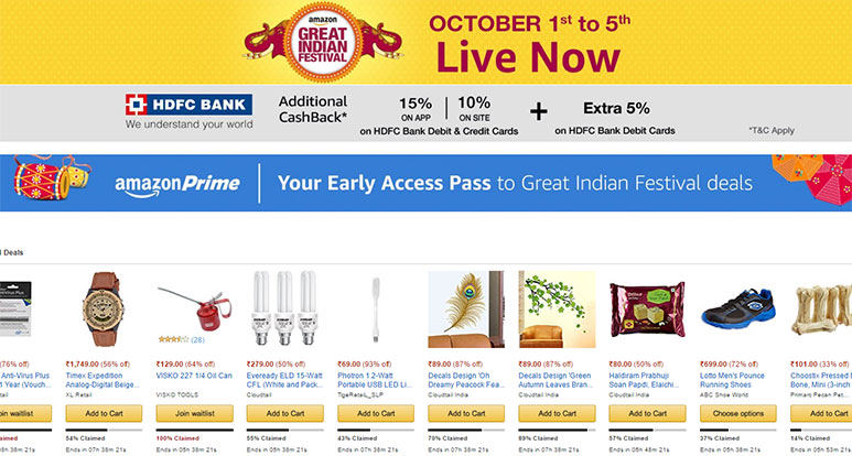 Amazon Great Indian Festival kicks off; Best Deals and Offers on Gadgets for Day 1