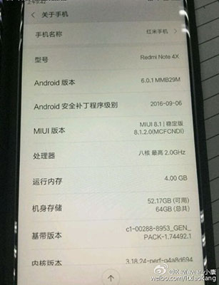 Xiaomi Redmi Note 4X with Snapdragon 653 SoC and 4GB RAM leaked
