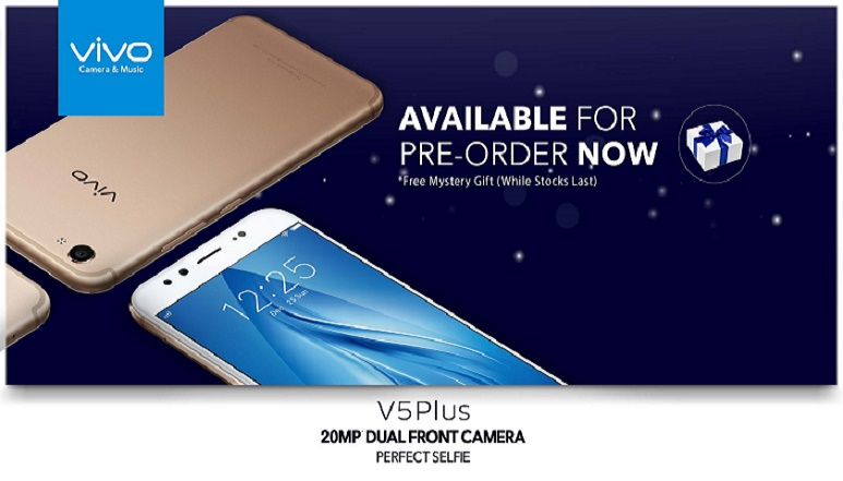 Vivo V5 Plus with 20MP + 8MP dual front cameras, 4GB RAM listed online ahead of its launch