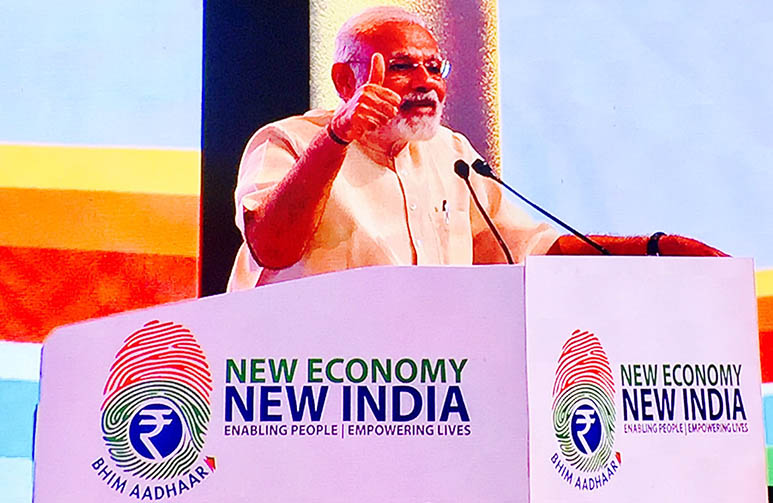 PM Narendra Modi launches new BHIM-Aadhaar platform at Nagpur, enables 'Cashless' payments via fingerprint