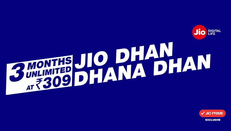 "Jio brings out 'Dhan Dhana Dhan' offer at Rs. 309 for 3 months; disappointed Airtel says ""old wine in a new bottle"""