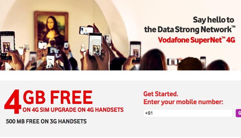 Vodafone to offer 4 GB of free 4G data to the users upgrading to 4G sim from 3G sim