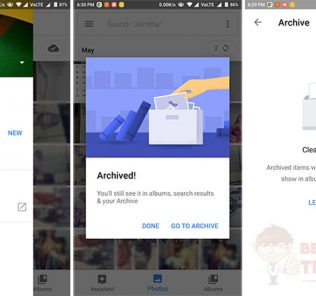 Google Photos Archived Feature