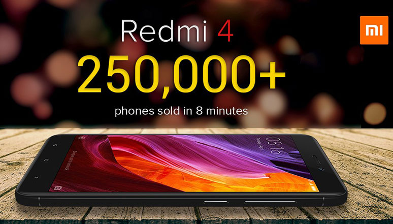Over 250,000 units of Xiaomi Redmi 4 smartphones sold in under 8 minutes in India