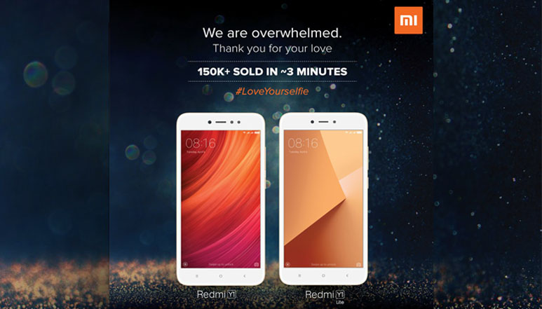 a96bc33e1 Xiaomi s Redmi Y1 and Redmi Y1 Lite went up for their first sale today  (November 8) on Flipkart and Mi.com. The phones were unveiled a week before  they went ...