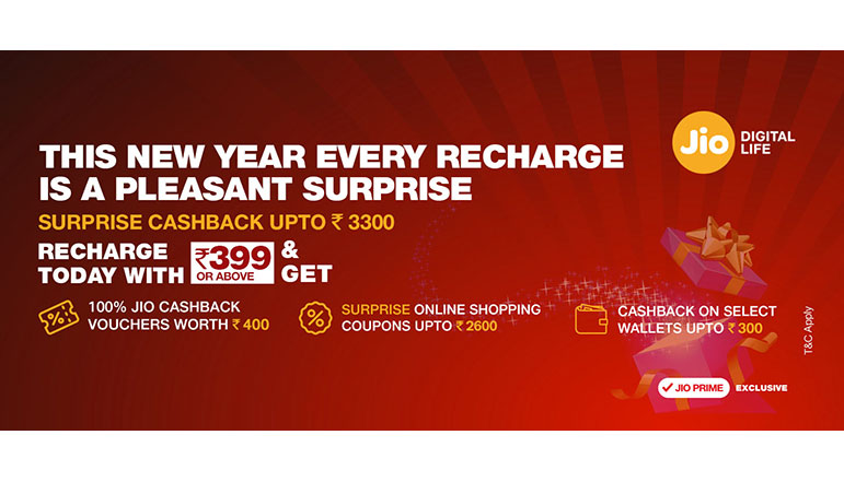 Reliance Jio announces Surprise Cashback offer of Rs  3300 on